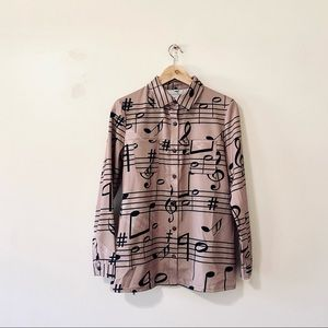 Vintage 60s long sleeve shirt music notes small
